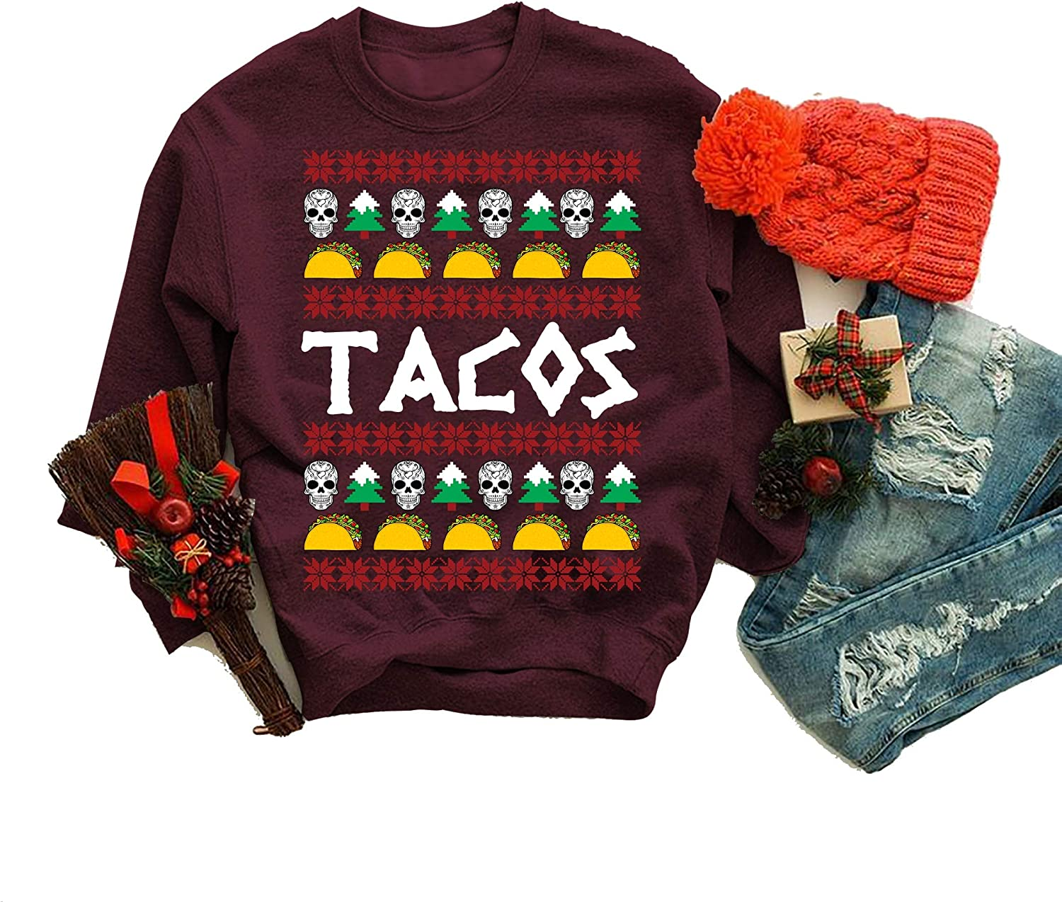Ugly Christmas Sweatshirt Sales of SALE items from new works Tacos Skulls Maro Sweater Ranking TOP4 Gift Xmas on