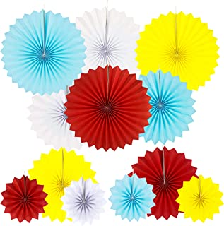 JUICY MOOM Circus Carnival Party Hanging Paper Fans Decorations Under the Top Baby Shower First Birthday Party Photo Booth Backdrops Props Hanging Decorations, 12pc