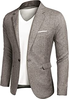 JINIDUMen'sCasualSportsCoatsOneButton Smart Slim Fit Suit Blazer Jacket Light Grey