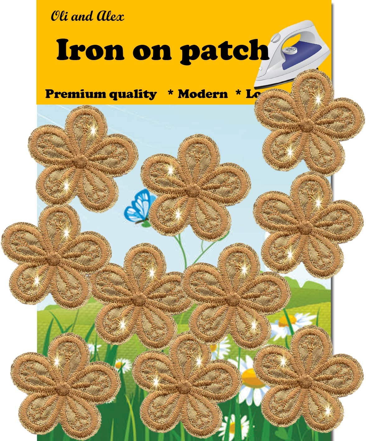 Over item handling A-12 Gold Flower Iron On Patch 10 Decorativ Brand new Pieces Embroidered