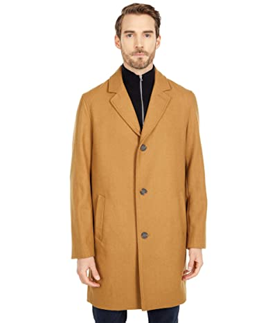 Cole Haan 37 Melton Wool Notched Collar Coat with Welt Body Pockets (Camel) Men