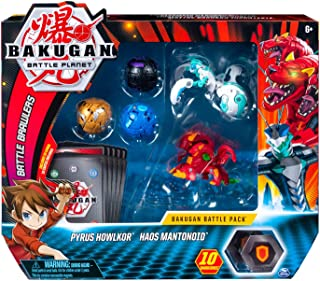 Bakugan, Battle Pack 5-Pack, Pyrus Howlkor and Haos Mantonoid, Collectible Cards & Figures, for Ages 6 and Up