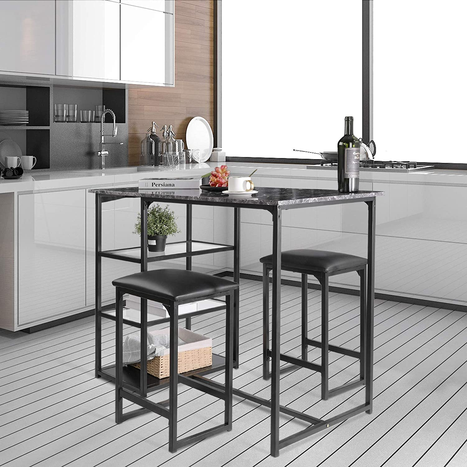 HOMFY 9 Piece Bar Table Set, Dining Table with 9 Stools for Home,  Restaurant, Bar, Kitchen Gray