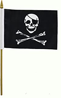 Pirate Skull & Cross Bones Small 4 X 6 Inch Mini Stick Flag Banner with 10 Inch Plastic Pole .. Great Quality Polyester ... New