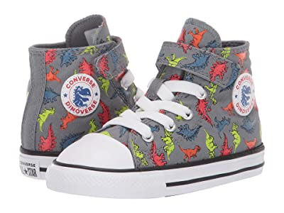 Converse Kids Chuck Taylor(r) All Star(r) 1V Dinoverse Hi (Infant/Toddler) (Cool Grey/Black/White) Boys Shoes