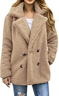 AONTUS Women's Fuzzy Fleece Open Front Cardigan Jacket Coat Outwear with Pockets