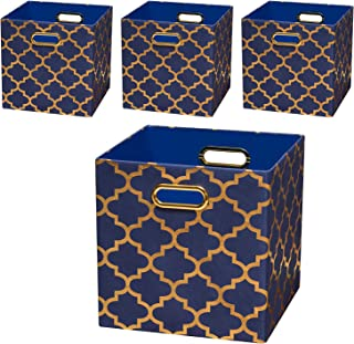 Posprica Foldable Storage Bins,11×11 Storage Baskets Cube Boxes Containers Closet Organizers,More Durable Fabric Drawers (4pcs, Navy/Gold Lantern)