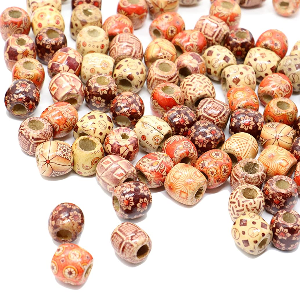 HUELE 100PCS 16mm Wood Beads Large Hole Macrame Beads for DIY Jewelry Making Bracelet Supplies, Crafts, Hair