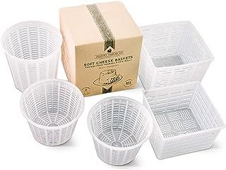 comprar comparacion Juego de 5 moldes para hacer quesos – Cestas para hacer cabaña de Quark Ricotta y pequeños quesos de cabra blandos – Tambi...