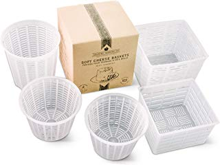 Cheese Maker Molds Set of 5 – For Draining Ricotta Sour Cream and Quark - Press Indian Paneer Queso Goat Crottin Kefir Vegan Ricotta Cashew or Almond Cheese - Italian Soft Cheese Draining Basket Set