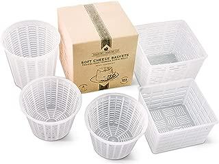 Cheese Maker Molds Set of 5 – For Draining Ricotta Sour Cream and Quark - Press Indian Paneer Queso Goat Crottin Kefir Vegan Ricotta Cashew or Almond Cheese - Italian Soft Cheese Draining Basket Set