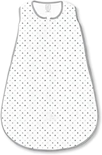 SwaddleDesigns Cotton Sleeping Sack with 2-Way Zipper, Sterling Tiny Triangle Shimmer, Large