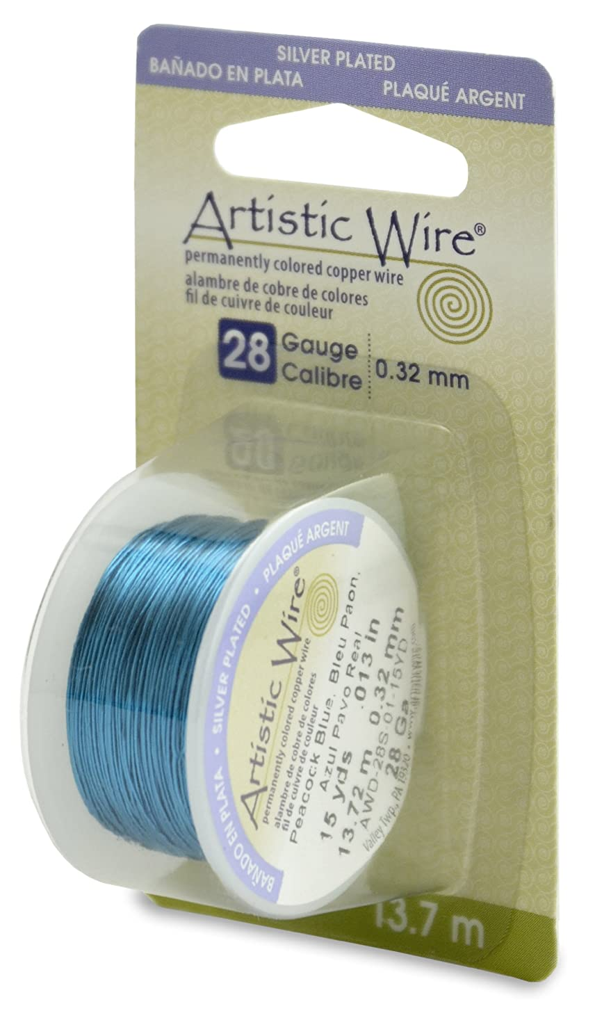 Artistic Wire 28-Gauge Silver Plated Peacock Blue Wire, 15-Yards