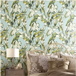 JZ·HOME 4041 Banana Leaf Non Woven Wallpaper Rolls, Aqua Blue/Light Green/Yellow Leaves Pattern Wallpaper for Wall Decoration 20.8
