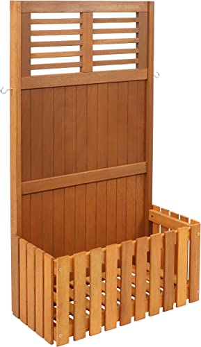 high quality Sunnydaze Outdoor Garden Wood 2021 Planter Box with Privacy Screen for Patio, outlet online sale Porch, Deck, Balcony, Garden and Hot Tub - 2 Hooks for Hanging Basket Planters - Meranti Wood with Teak Oil Finish - 44-Inch online