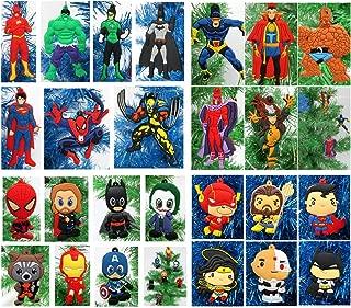Christmas Ornament Super Hero Deluxe 20 Piece Random Set Featuring Various Super Hero Characters - Unique Plastic Design Around 2.5