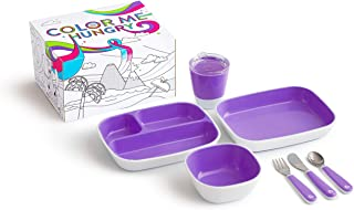Munchkin Color Me Hungry Splash 7pc Toddler Dining Set – Plate, Bowl, Cup, and Utensils in a Gift Box, Purple