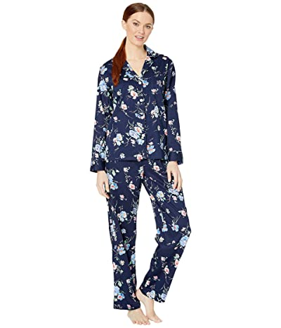 LAUREN Ralph Lauren Classic Woven Long Sleeve Pointed Notch Collar Long Pants Pajama Set (Navy Print) Women