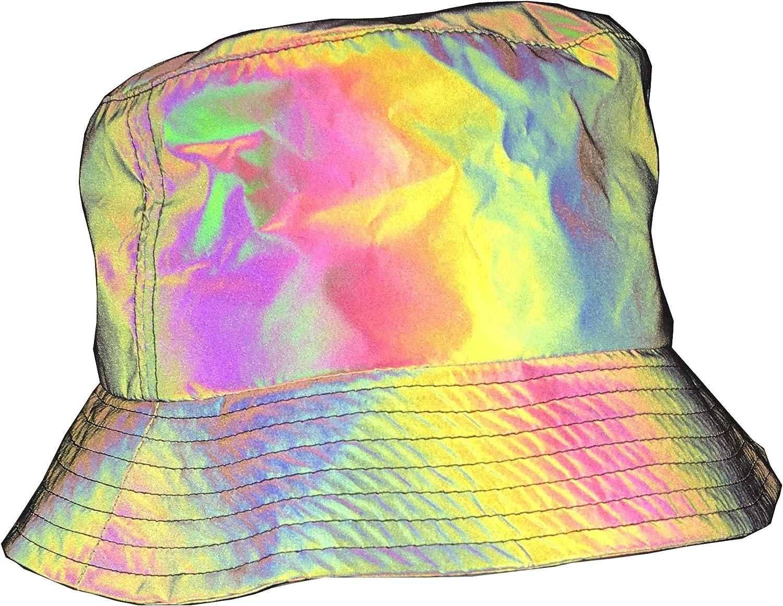 NEWLOPO Rainbow Reflective Fishman Hat & Womens Bucket Sun Hat Glow in The Dark