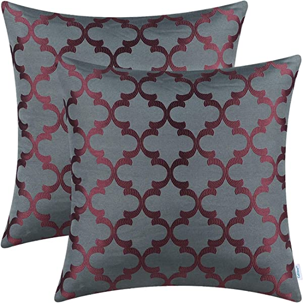CaliTime Pack Of 2 Soft Throw Pillow Covers Cases For Couch Sofa Home Decoration Modern Quatrefoil Trellis Geometric 18 X 18 Inches Grey Burgundy