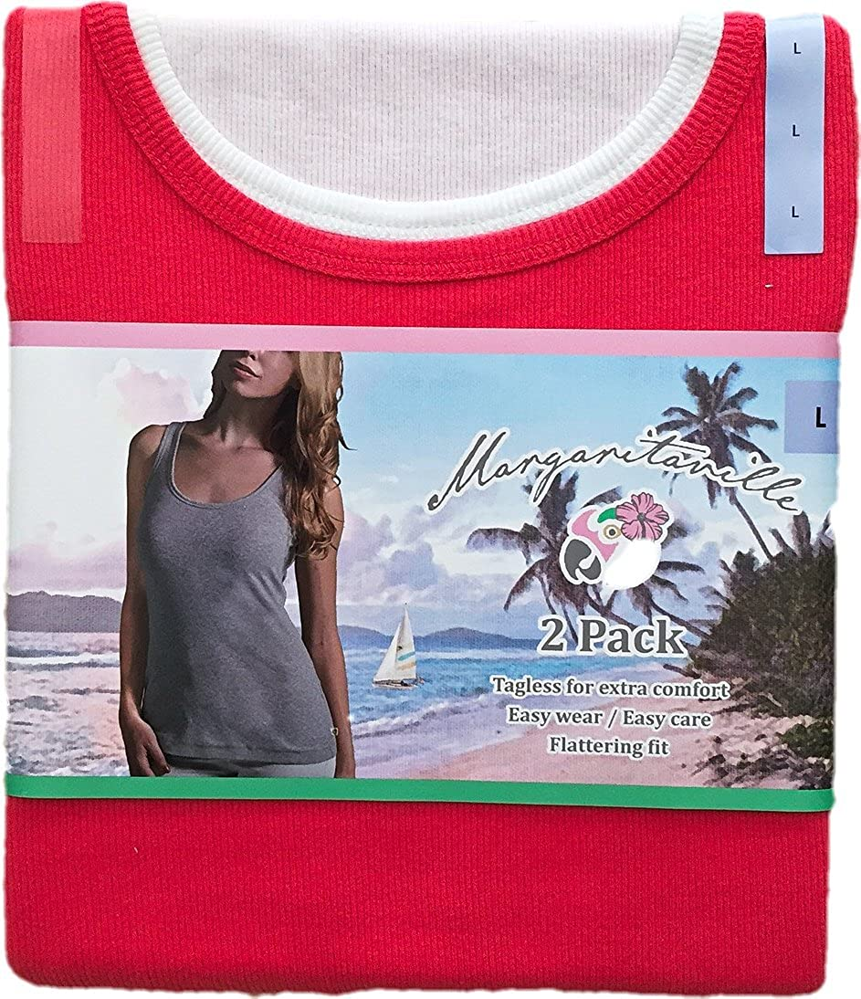 Margaritaville Women's Tagless Ribbed Cotton Tank, Pack of 2 Colors