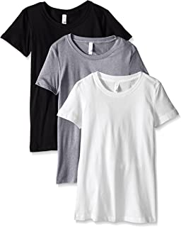 Clementine Apparel Women's 3-Pack Short Sleeve T Shirt Easy Tag V Neck Soft Cotton Blend Undershirts (1510)
