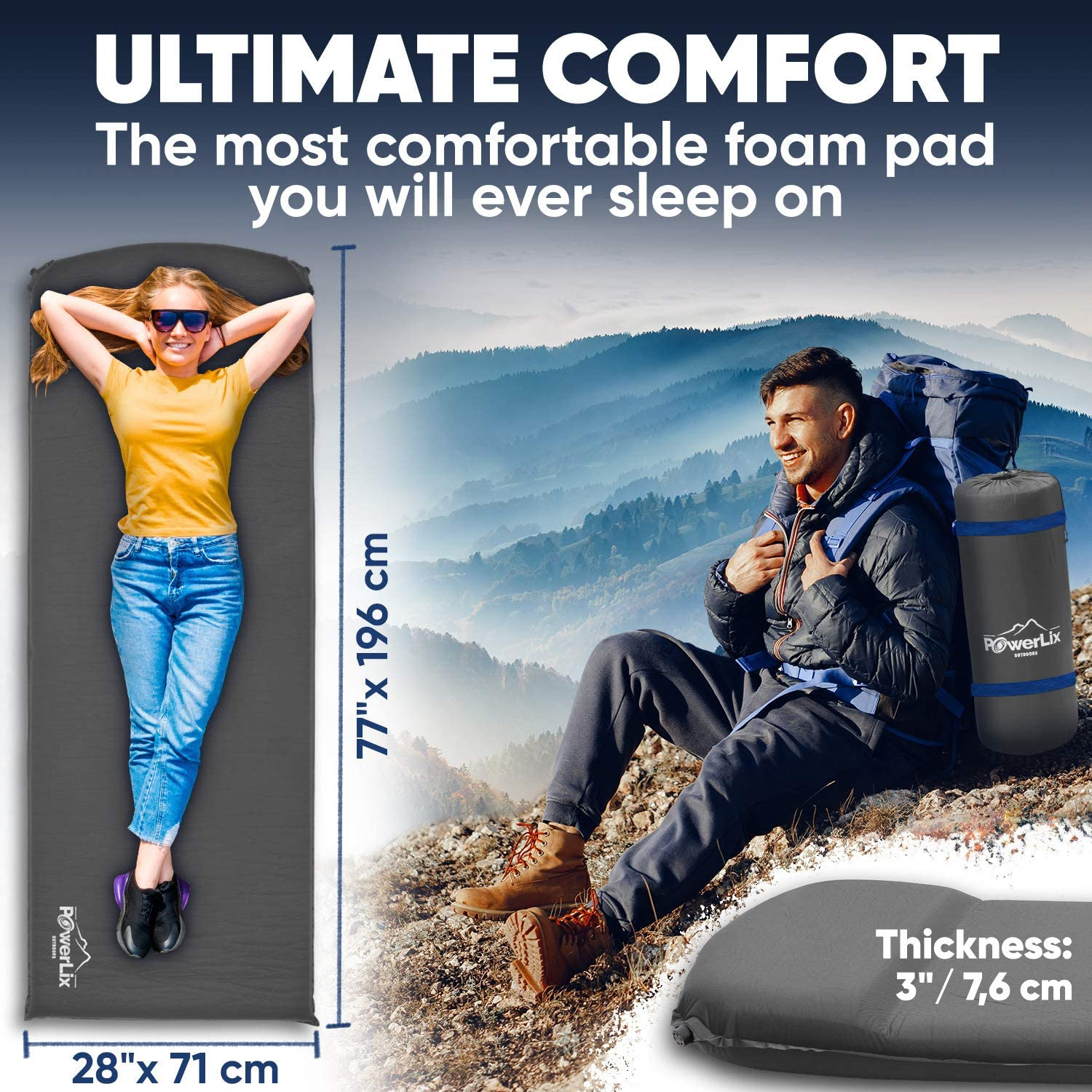 Self-Inflating Foam Pad Insulated 3inches Ultrathick Mattress for Camping Powerlix Sleeping Pad Ultralight Camping Mat for A Tent Hiking Backpacking Built in Pillow- Fits in A Carry Bag