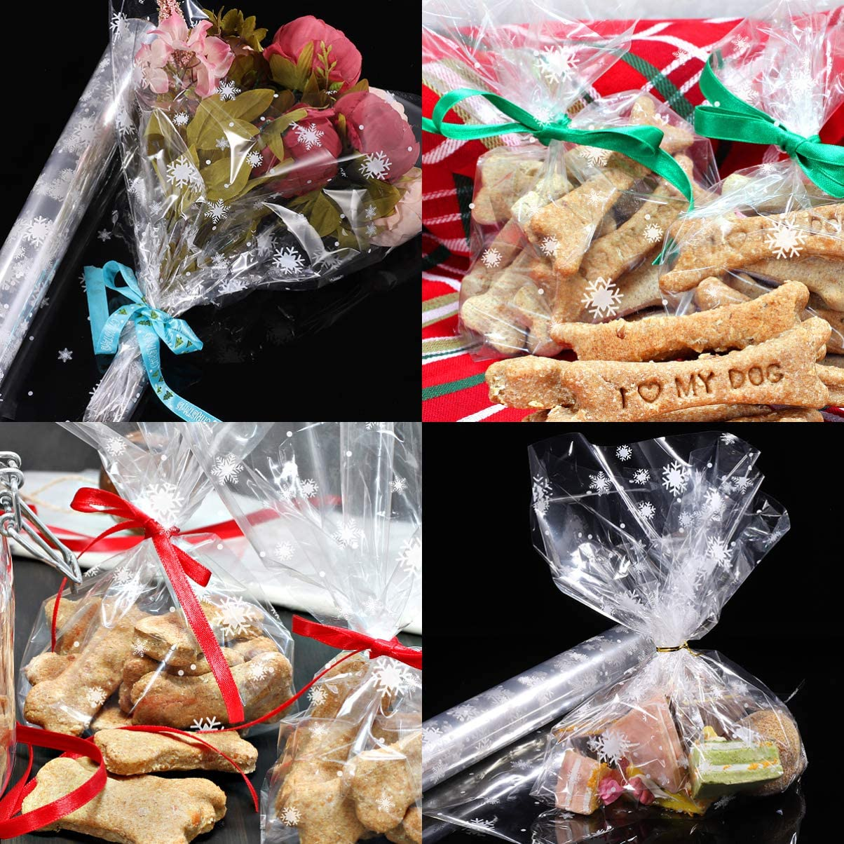 TOYANDONA 2.5 Mil Snowflake Cellophane Wrap Roll Christmas Clear Treat Bags Holiday Candy Wrapper Merry Christmas Goody Bags for Christmas Party Favor 3000x40cm