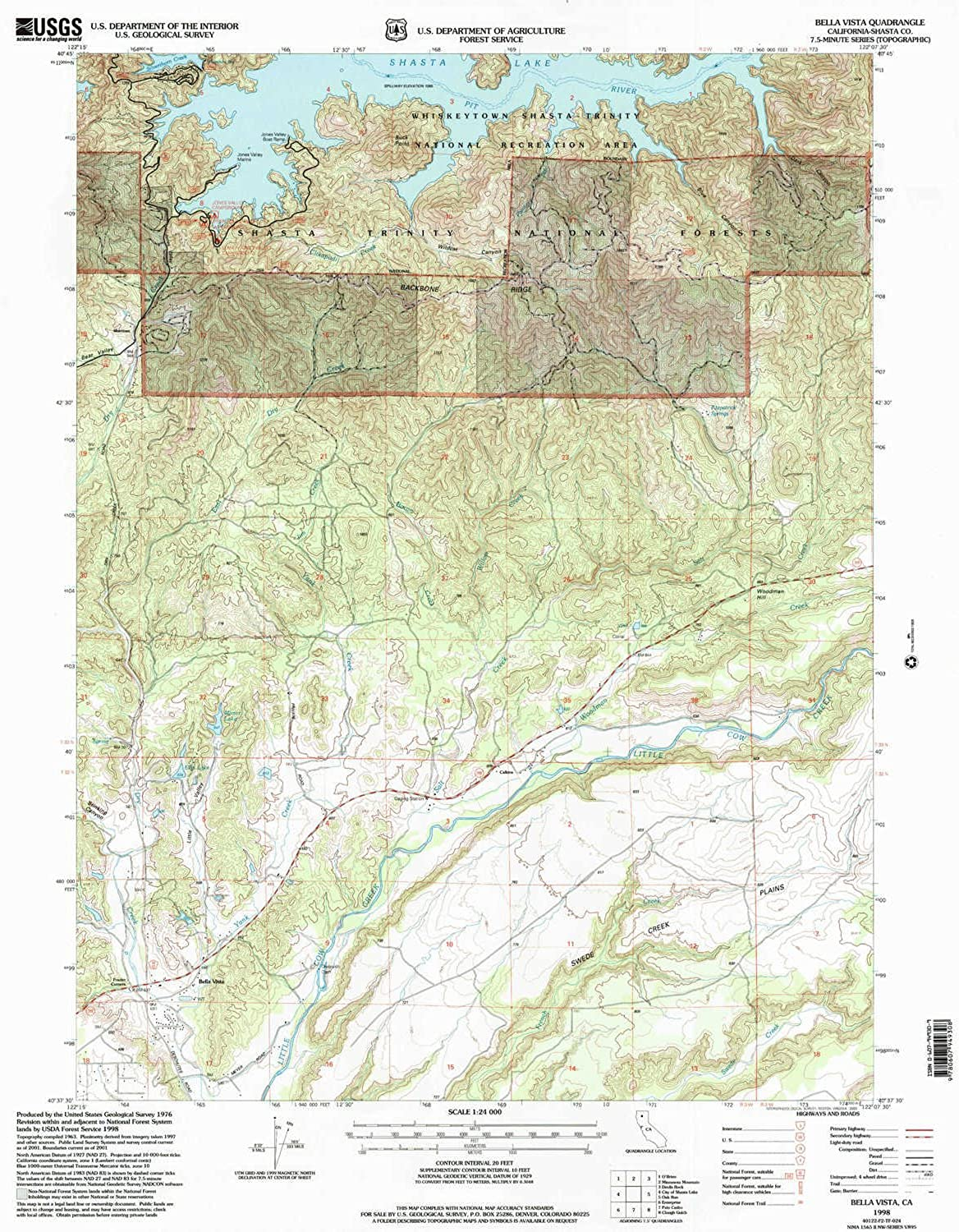 Bella Vista CA topo map, 1 24000 Scale, 7.5 X 7.5 Minute, Historical, 1998, Updated 2003, 26.7 x 21.4 in