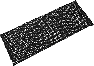 Moroccan Accent Hand Woven Bathroom Rug, Area Rug for Bedroom, Cotton Woven Boho Throw Rug , Tribal Decorative Throw Throw Rugs Carpet for Laundry Hallway Kitchen Sink (2'x4.2', Black & white Rhombus)