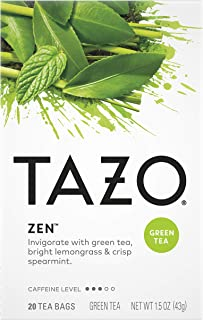 Tazo Tea Bags For an Calming Beverage Green Tea Moderately Caffeinated Tea 20 Tea Bags