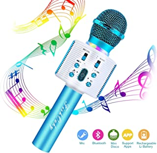 FISHOAKY Karaoke Microphone, Bluetooth Karaoke Machine Kids Portable Mic Player Speaker with LED & Music Singing Voice Recording for Christmas Birthday Home Party KTV Outdoor