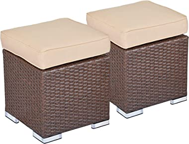 Green4ever 2 Pieces Patio Outdoor Ottoman, All Weather Wicker Furniture Ottoman Seat Rattan Stool Foot Rest with Beige Cushio