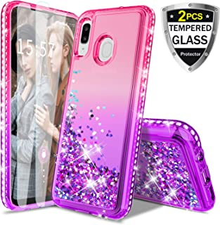 Donse for Samsung Galaxy A20/30 Case,Glitter Liquid Quicksand Floating Shiny Sparkle Flowing Bling Diamond Luxury Clear Cute Case for Girls Women (Pink/Purple)