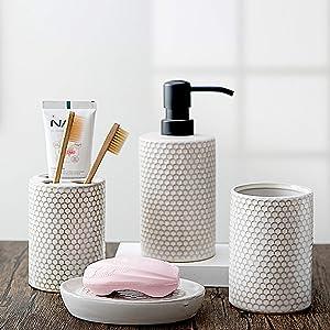 Kendiis Bathroom Accessories Set 4 - Ceramic Bathroom White Accessory Completes with Soap Dispenser, Toothbrush Holder, Tumbler, Soap Dish - Modern Decor, Bathroom Home Decor Clearance