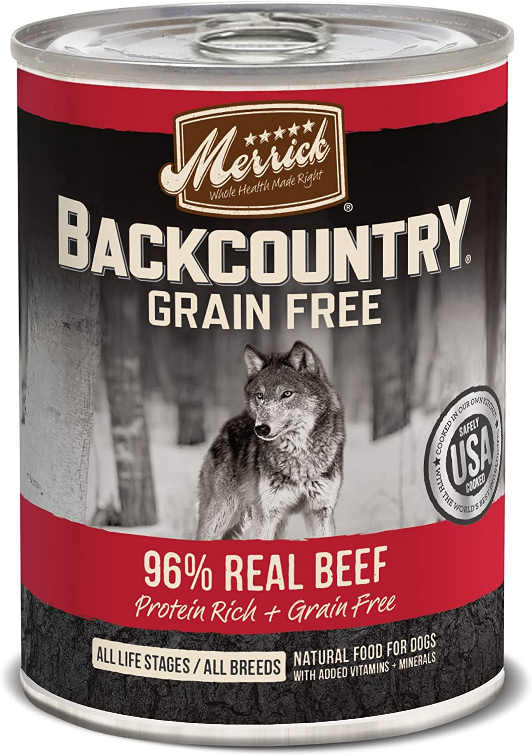 Merrick Backcountry Grain Free 96%  Real Beef Wet Dog Food, Case of 12, 12.7 oz.