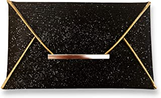 Luxury Women's Black & Gold Beaded Sequin Envelope Clutch. Elegant sparkling evening purse for a Formal, Party, Wedding, Cocktail or Prom.