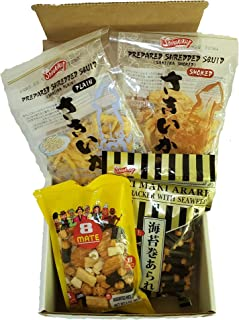Japanese Beer Snacks 4-in-1 Kit   Assorted Rice Crackers   Seaweed Wrapped Nori Maki Arare   Dried Squid Jerky Saki Ika