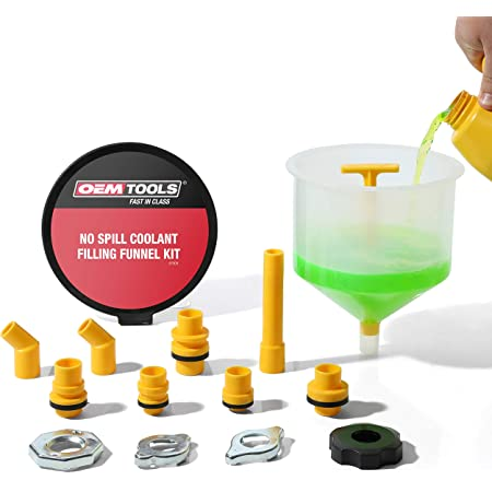 OEMTOOLS 87009 No-Spill Coolant Funnel Kit, Near Universal Fitment, Translucent, 15 Piece Set, Cooling System Funnel Allows Access To Hard-To-Reach Radiators