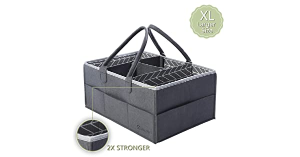 "Extra Large 16.5/"" x 11.8/"" x 7.4/""- Nursery Portable Bin Car Travel Organizer Baby Registry Gift Baby Shower Gift Basket for New Parent- Diaper Tote Bag HOKEMP Baby Diaper Caddy Storage Organizer"