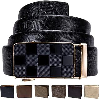 مجموعة أحزمة جلدية بسقاطة للرجال من Dubulle 3 مشابك تلقائية حزام منزلق قابل للتعديل هدية أنيقة