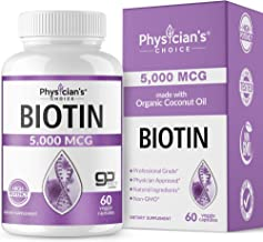 Biotin 5000 MCG - with 100% Organic Coconut Oil from (Patented) goMCT - Biotin Supplement for Hair Growth, Nail & Skin Health - Non-GMO & Vegan Hair, Skin, and Nail Vitamins - 60 Capsules