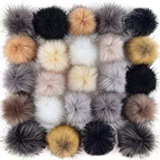Coopay 24 Pieces Faux Fox Fur Pom Pom Balls DIY Fur Fluffy Pom Pom with Elastic Loop for Hats Keychains Scarves Gloves Bags Charms Knitting Accessories (Popular Mix Colors)