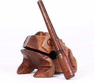 Large 6 Cm,Wood Frog Guiro Rasp Musical Instrument Tone Block .Frog Animal Bird File Sound Wood Musical Instrument (Large 6CM) OTOP Thailand (BROWN)