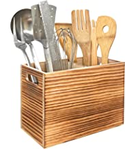 Utensil Holder in Rustic Wood for Farmhouse Kitchen Decor, Countertop Organizer and Cooking Tools Storage (Double)