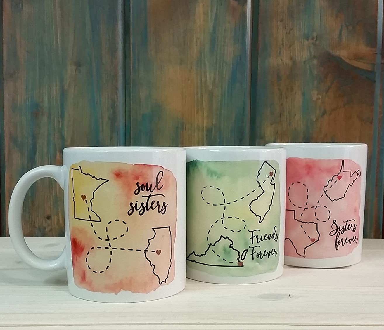 One long distance coffee mug, Sisters forever or Best friend going away gift, multiple word and size options available, state to state mug
