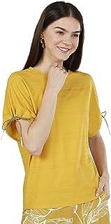 Iconic Women's 2091117 SS23TIEKNITO Knitted T-Shirt, Yellow