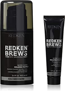 Redken Brews Molding Paste For Men, High Hold, Natural Finish, 3.4 fl. oz. with free mini