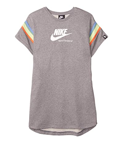 Nike Kids NSW Heritage Short Sleeve Dress (Little Kids/Big Kids) (Carbon Heather/White) Girl
