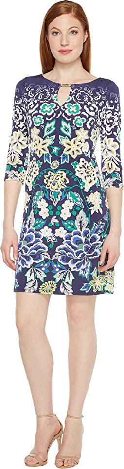 Printed Shift Dress with Keyhole Neckline